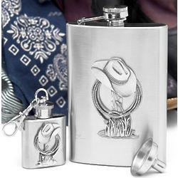 Cowboy Liquor Flask Gift Set