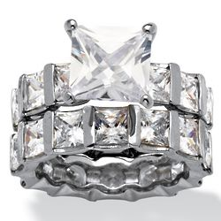 Platinum-Plated Princess-Cut DiamonUltra Wedding Ring Set