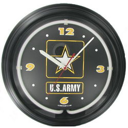 Black Neon Army Clock