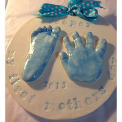 Child's Handprints Ceramic Plaque