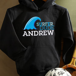 Surfer Dude Personalized Youth Hooded Sweatshirt