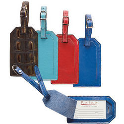 Leather Luggage Tag with Business Card Sized Window
