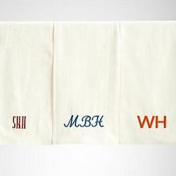 Blue Script Embroidered Kitchen Towel