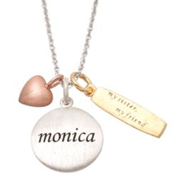 Sterling Silver Tri-Color Sister's Charm and Name Pendant
