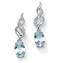 Aquamarine and Diamond Accent Earrings in 10k White Gold