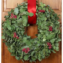 Eucalyptus Wreath with Red Berries