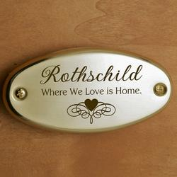 Where We Love Is Home Door Plate