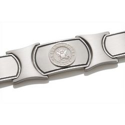 Men's Sterling Silver and Stainless Steel US Navy Bracelet