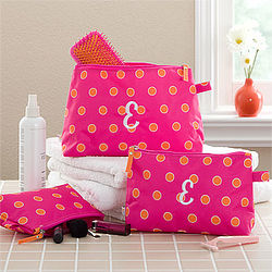 Personalized Pink and Orange Cosmetic Case Set