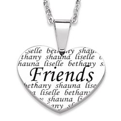 Friend's Engraved Names Heart Necklace