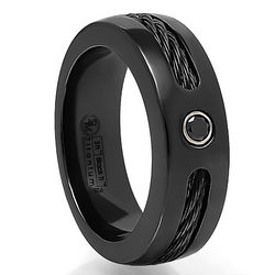 Black Cable and Black Diamond Titanium Ring