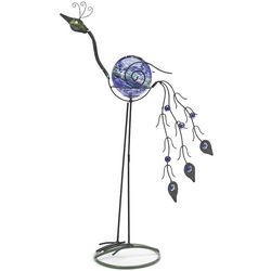 Solar Globe Metal Peacock Sculpture