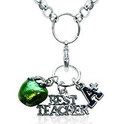Best Teacher Silver-Tone Charm Necklace