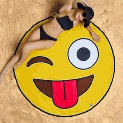 Winking Emoji Beach Blanket