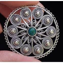 Yemen Sterling Silver & Eilat Stone Pin/Pendant