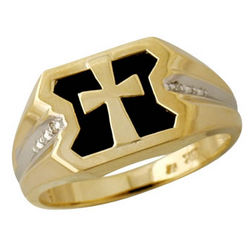 Diamond Men's Ring in 10kt Yellow Gold