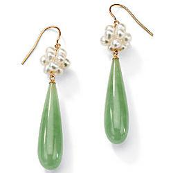 Green Jade and Cultured Freshwater Pearl Pierced Earrings