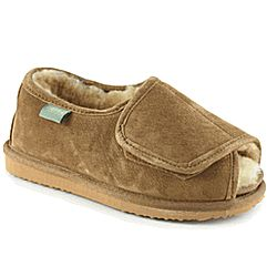 Heavenly Wrap Open Toe Velcro Sheepskin Diabetic Slippers