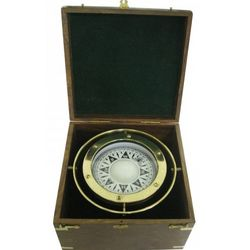 Brass Gimbal Compass in Wooden Box