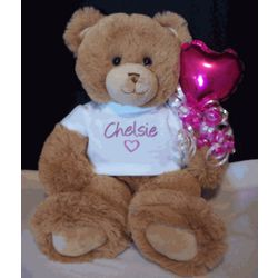 "16"" Personalized T-Shirt Teddy Bear with Balloon"