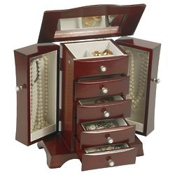 Bette Upright Jewlery Box in Mahogany Finish