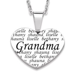 Grandma Engraved Family Names Heart Necklace