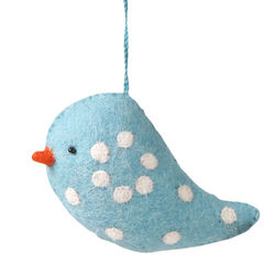 Handmade Felt Polka Dot Bird Ornament