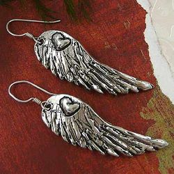 Silver-Plated Angel Wing Heart Earrings