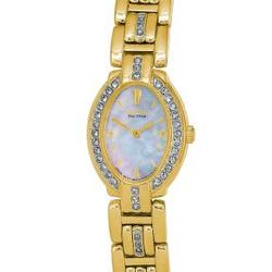 Gold-Tone Ladies' Eco-Drive™ Watch with Oval Mother-of-Pearl Dial