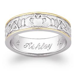 Sterling Silver Two-Tone Engraved Claddagh Wedding Band