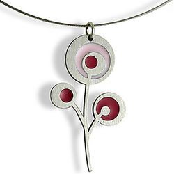 Raspberry Bloom Stainless Steel Necklace