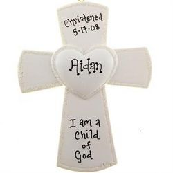 Christening/Baptism Cross Ornament with Center Heart
