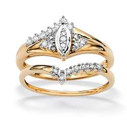 10k Gold Diamond Marquise-Shaped Wedding Ring Set