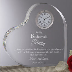Personalized Bridesmaids Engraved Heart Clock