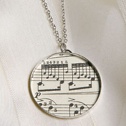 Sheet Music Pendant and Chain