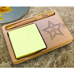 Personalized Star Wooden Notepad and Pen Holder