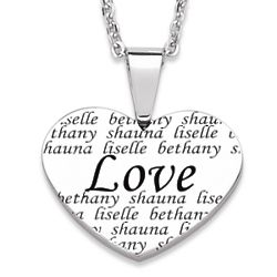 Love Engraved Names Heart Necklace