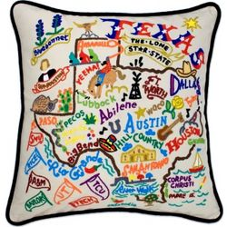 Hand Embroidered Texas Accent Pillow