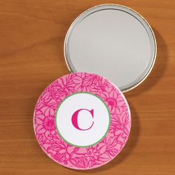 Personalized Pink Floral Pocket Mirror