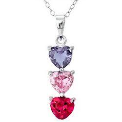 Three Stone Custom Birthstone Heart Drop Mother's Pendant