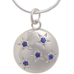 Five Sapphire Starry Sky Silver Pendant
