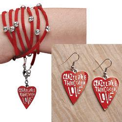 Crazy Little Thing Called Love Bracelet & Earrings Set