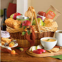 Harvest Gourmet Gift Basket with Wine