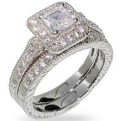 Princess Cut Halo Heirloom Cubic Zirconia Wedding Ring