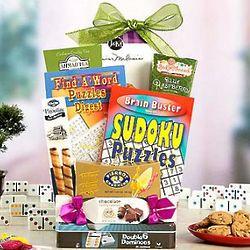 Games, Puzzles and Sweets Gift Basket