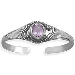 Sterling Silver Cuff Bracelet with Oval Amethyst