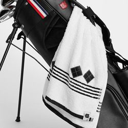 White and Black Cotton Golf Towel