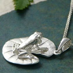 Handcast Sterling Silver Frog Necklace