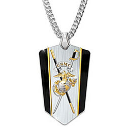 USMC Semper Fi Reversible Shield Pendant Necklace