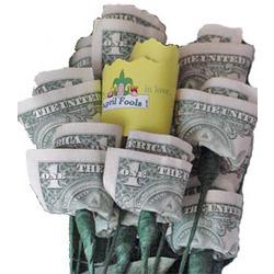 April Fool's 13-Stem Paper Money Roses Bouquet